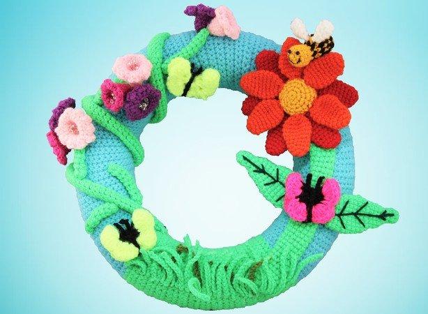 Türkranz Häkeln Blumenschmetterlingbienen