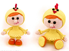 116 Crochet Pattern - Girl doll in a chicken outfit - Amigurumi PDF file by Stelmakhova Cp