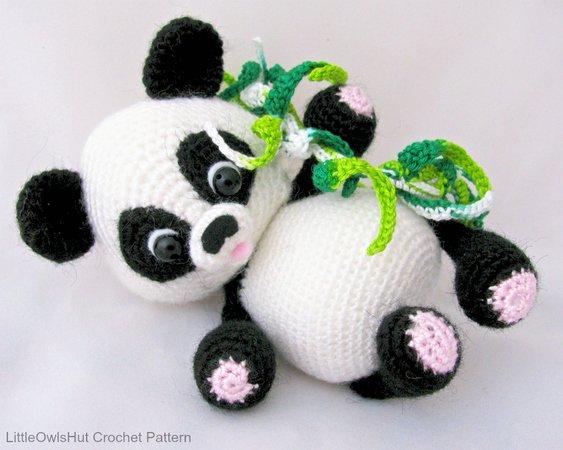 Dinegurumi - Offizieller Shop - Panda Baby - Häkelanleitung | 450x563