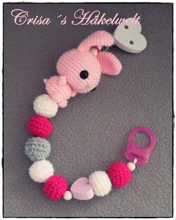 Schnullerkette Häkeln Babyspielzeug Hase