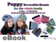 US-Poppy E-Book Reversible-Beanie Cap in 6 sizes xxs-xl for the whole family! Pattern with sewing instruction. Design from firstloungeberlin