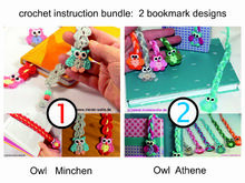 "- Bundle Price - Crochet instruction - bookmark owl ""Mine"" and Athene"" gift idea"