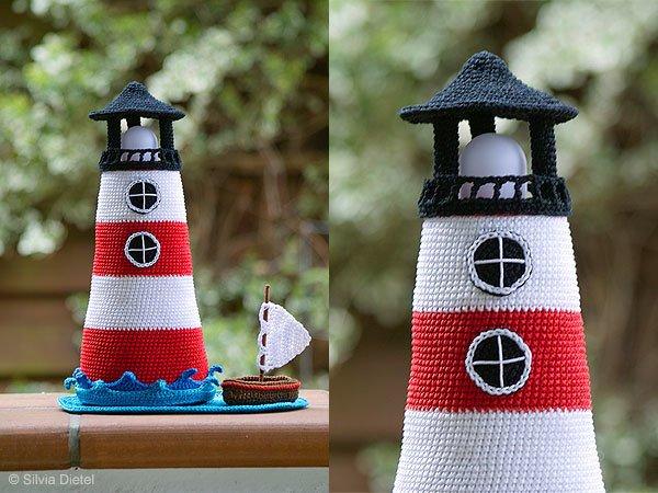 Leuchtturm h keln mit boot dabei deko for Leuchtturm basteln