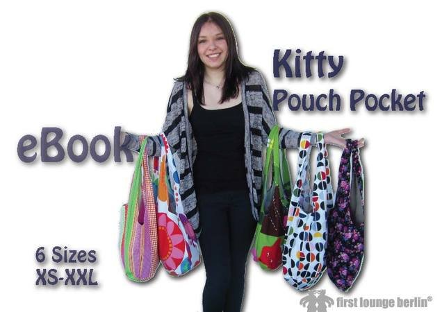 US-Kitty *** Pouch Pocket Shopper E-Book Pdf Sewing instruction with pattern in 6 sizes xs-xxl made with Love from firstloungeberlin