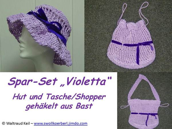 h kelanleitung set violetta hut und tasche shopper. Black Bedroom Furniture Sets. Home Design Ideas