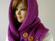LouLou Kiss Hood Scarf Knitting Pattern Woman Hooded Scarf Easy to Follow Pattern
