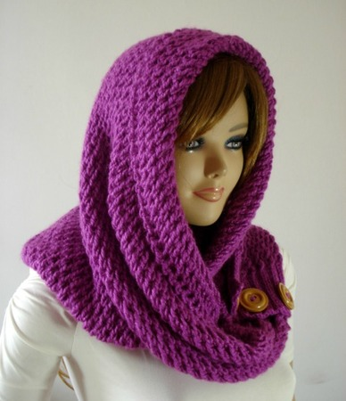 Loulou Kiss Hood Scarf Knitting Pattern Woman Hooded Scarf Easy To