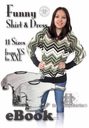 Us-Funny *** E-Book PDF-file Shirt & Dress with U-boat neckline sewing instruction pattern 11 sizes Xs to Xxl Design from Firstloungeberlin