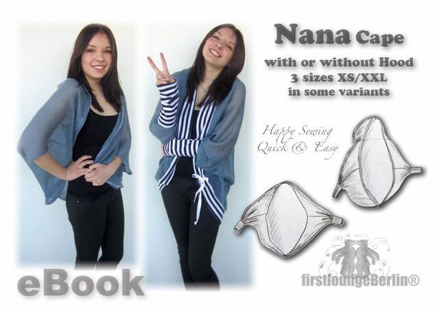 US-Nana Cape *** PDF-file eBook Poncho sewing instruction with patterns in 3 double size xs-xxl handmade with Love from firstloungeberlin