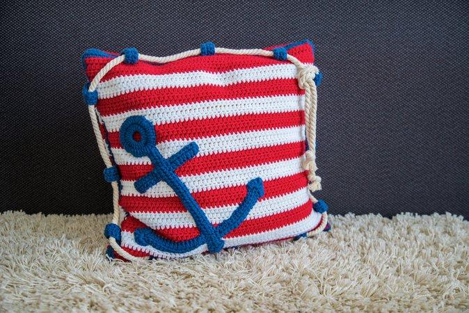 kissenbezug mit anker h keln maritim h keln. Black Bedroom Furniture Sets. Home Design Ideas