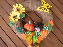 Crochet autumn Wreath pattern - crochet wreath - door wreath -