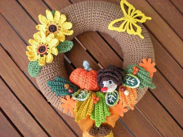 Crochet Autumn Wreath Pattern Crochet Wreath Door Wreath