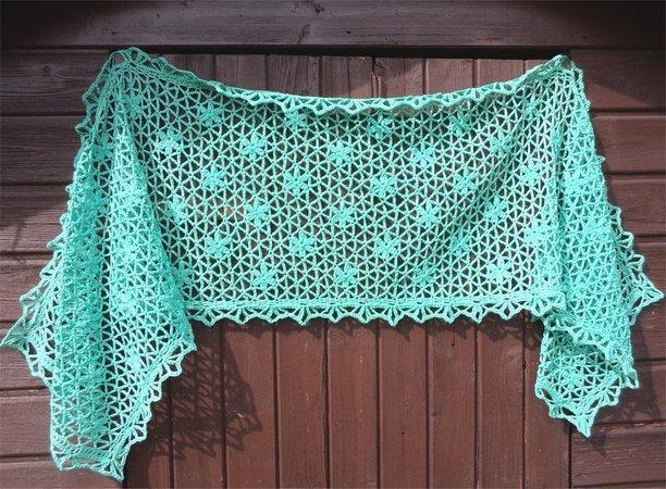 Flowerparty, shawl, stole, scarf, crochetpattern