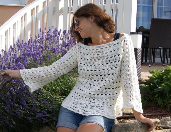 Pulli häkeln//Damen-Pullover++hübsches Muster