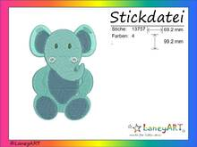 "Stickdatei ""Elefant"" Pes Format (Deco, Brother, Babylock)"