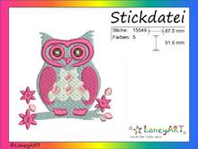 "Stickdatei ""Eule auf Ast"" Pes Format (Deco, Brother, Babylock)"