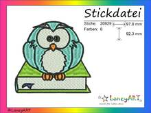 "Stickdatei ""Eule mit Buch"" Pes Format (Deco, Brother, Babylock)"