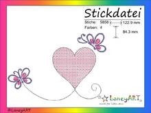 "Stickdatei ""Herz mit Schmetterlinge"" Pes Format (Deco, Brother, Babylock)"
