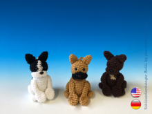 Crochet Pattern french Bulldogg Keychain, little bully amigurumi