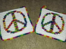 Peace Sign Potholders PDF Pattern