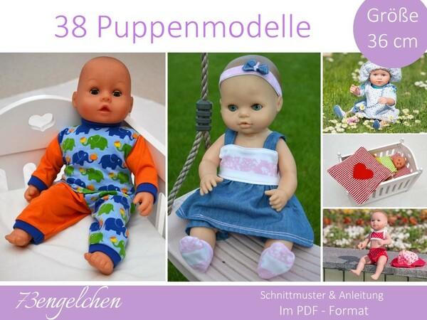 Schnittmuster 38 Modelle für Gr: 36cm Puppen