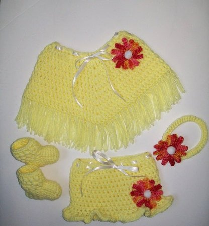 Baby Poncho and Skirt Set