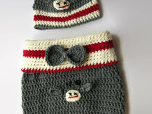 Newborn Monkey Cocoon PDF Pattern, Cute Baby cocoon pattern, Monkey Set