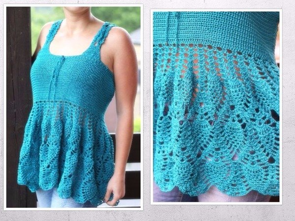 crochet pattern for a tunic top, size XS-XXL (EU)