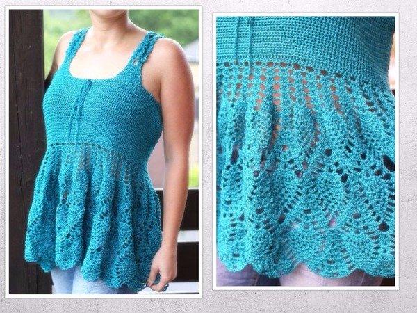 Crochet Xxl Patterns : crochet pattern for a tunic top, size XS-XXL (EU)