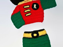 Crochet Robin Pattern , Boys costumes, Robin Suit, Baby boy Clothes