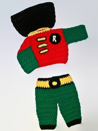 Crochet Robin Pattern Boys Costumes Robin Suit Baby Boy Clothes