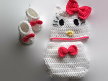 Crochet Hello Kitty Diaper Set, Baby gifts to make, Baby shower pattern