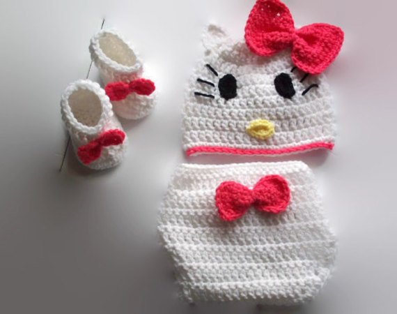 Crochet Hello Kitty Diaper Set Baby Gifts To Make Baby Shower Pattern