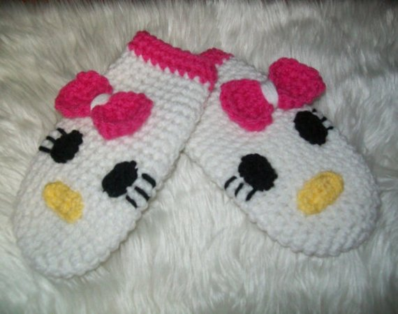 Crochet Girls Mitten Pattern Hello Kitty