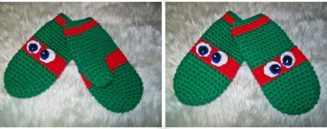 Boys Ninja Turtle Mittens Crochet Pattern