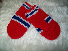 Crochet Hockey Mittens Pattern