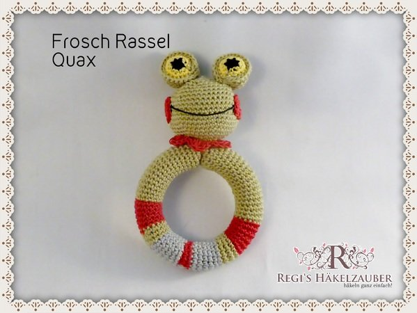 Häkelanleitung Baby Rassel Greifling Frosch Quax