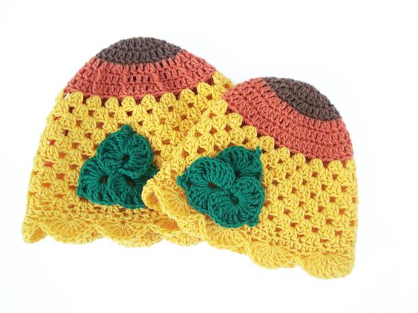 Häkelanleitung Babymütze, Sonnenblume Mütze, Neugeborenenmütze ...