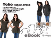 US-Yoko PDF E-Book sewing instruction with patterns for jersey raglan dress in 7 sizes xs-xxxl - made with Love from firstloungeberlin