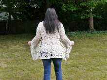Häkelanleitung verschlusslose Granny Jacke unisize White Collection No.6