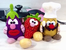 Crochet Pattern Kitchen Tools and Helper - The Kitchenkings Gini & Berry & Pelle - English