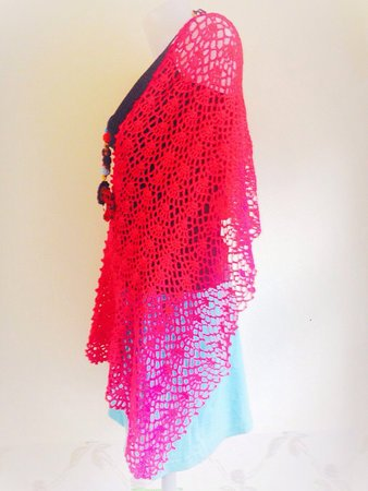Spring and Summer Easy Crochet Women Wrap Pattern, Shawl, Scarf, US and UK standard included
