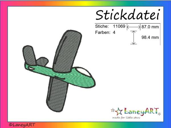 "Stickdatei ""Flieger / Flugzeug"" Pes Format (Deco, Brother, Babylock)"