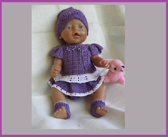 Häkelkleid Für Baby Puppe Größe 40 45 Cm