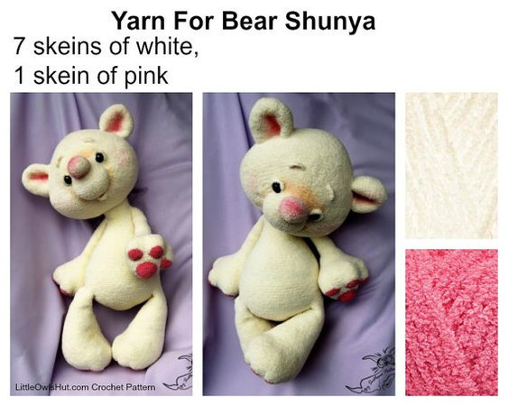 122 Crochet Pattern - Huggable bear Shunya - Amigurumi soft toy PDF file by Pertseva Cp