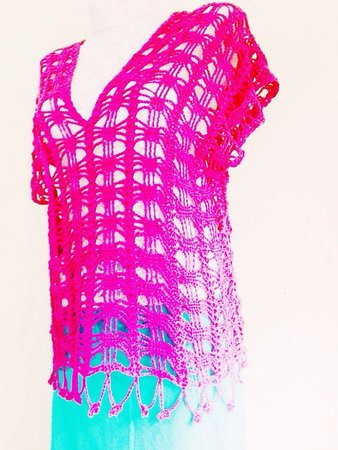 Pattern Crochet Tee Top Adult Vest For Beginners Size Small To Large
