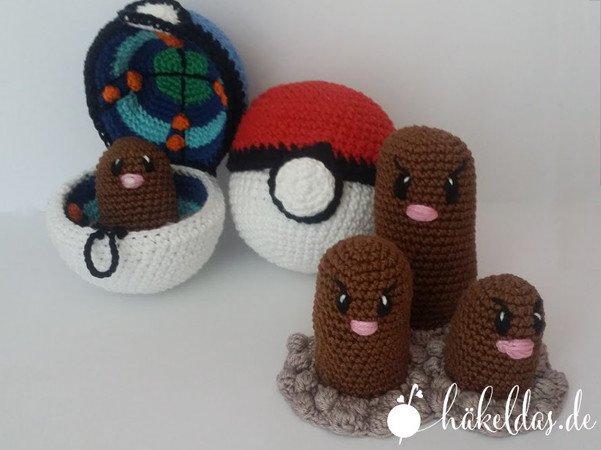 Regenwurm Digda Digdri Häkelanleitung Pokémon