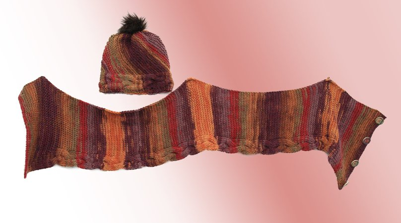 "Knitting pattern scarf and hat set ""Caradhras"""