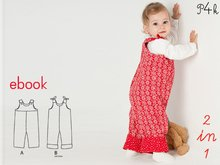 "Baby dungaree pattern, Overall, Romper with lined yoke + buttons, E-Book sewing pattern, instructions, ""Lilli& Bo"" from Pattern4kids"