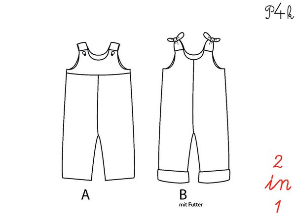 Baby dungaree pattern, Overall, Romper with lined yoke + buttons, E ...